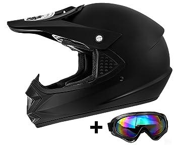 Casco infantil ATO Moto de motocross, color negro, incluye gafas de sol MX