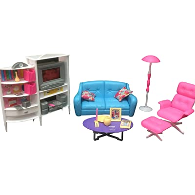 Gloria Dollhouse Furniture - Family Room TV Couch Ottoman Playset: Toys & Games
