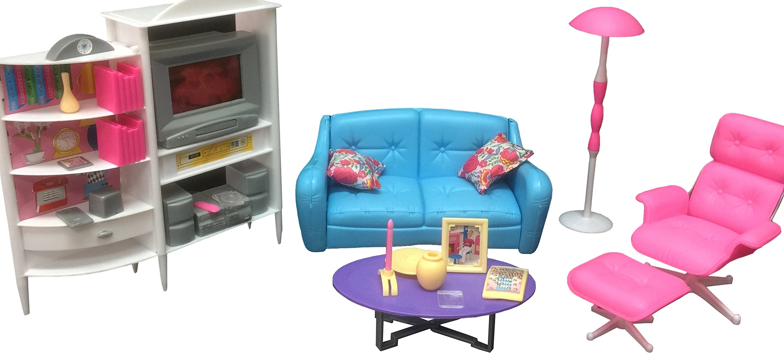 Gloria Dollhouse Furniture - Family Room TV Couch Ottoman Playset