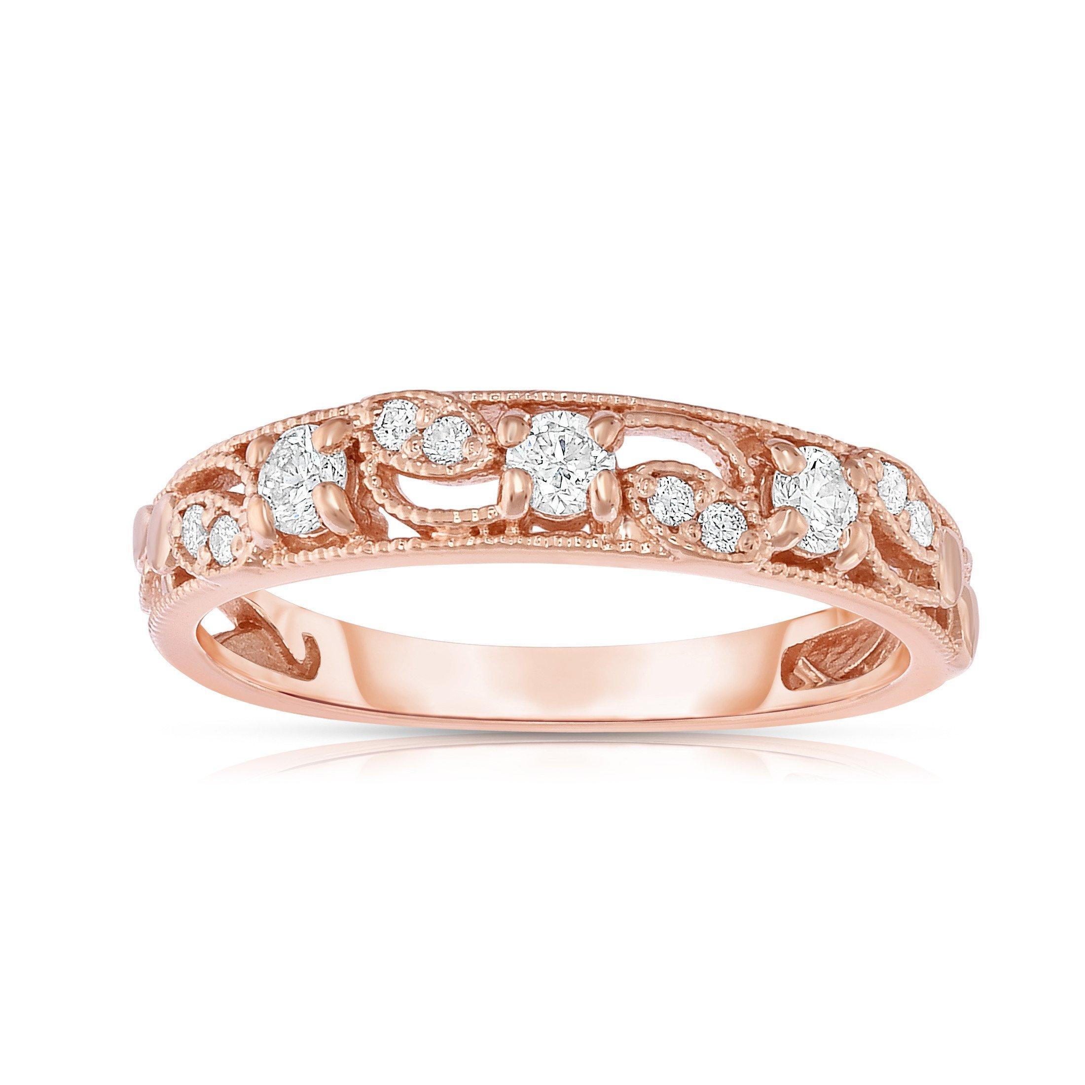 Noray Designs 14K Rose Gold (1/4 Ct, G-H, SI2-I1 Clarity) Stackable Ring