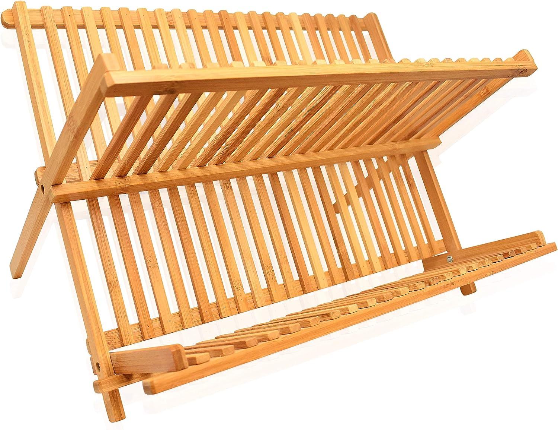 Dish Drying Rack Bamboo Dish Rack Collapsible Dish Drainer, Foldable dish drying rack Wooden Plate Rack Made of 100% Natural Bamboo