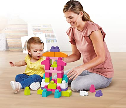Kids Play Fun Sweet Colours with Distinct Shapes Big Building Blocks Toy Bag