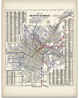Amazon.com: Vintage Map Poster - Sectional & road map of Los Angeles ...