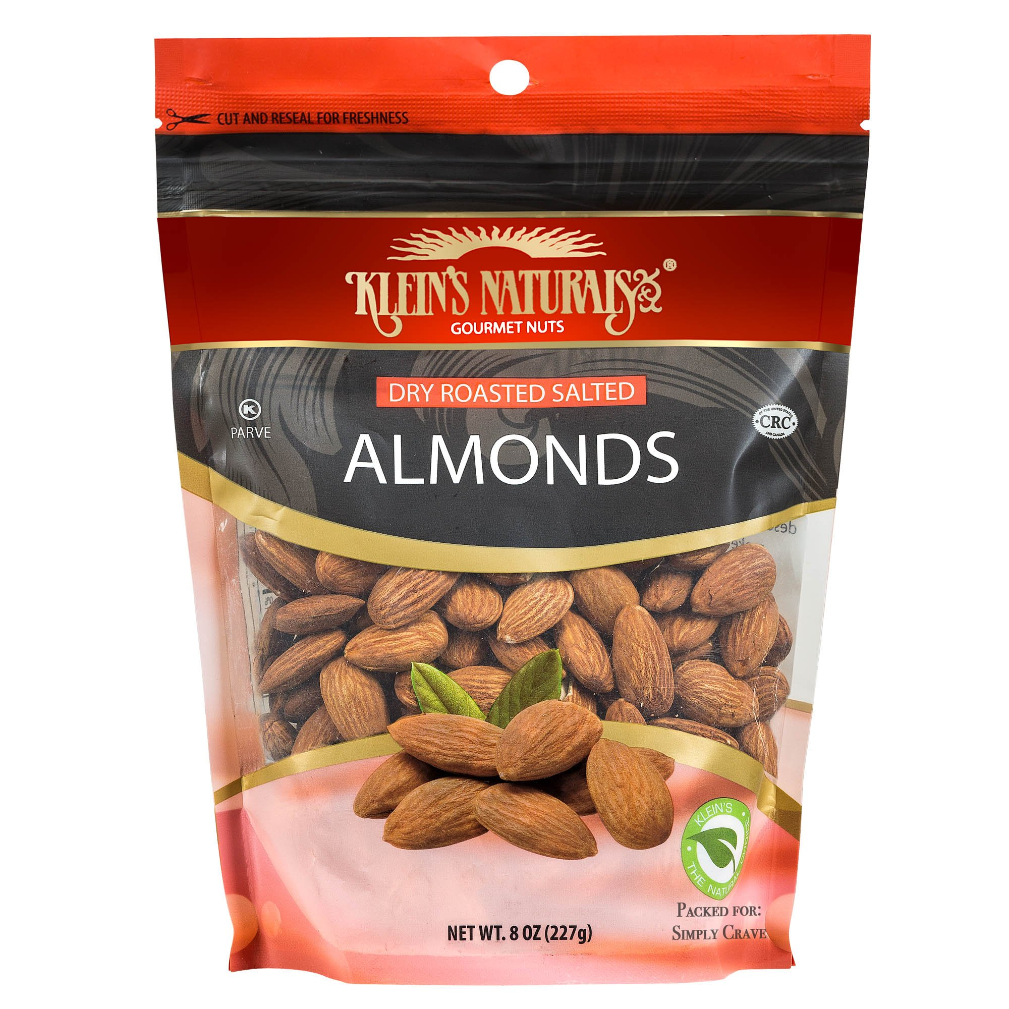 Kleins Natural's Dry Roasted and Salted Almonds, Almond Nuts, Dry Roasted Almonds Salted, Quick Healthy Almond Snack, 8-Ounce (Pack of 4)