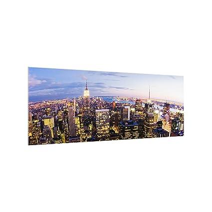 Bilderwelten Spritzschutz Glas New York Skyline Bei Nacht Panorama Quer 50cm X 125cm