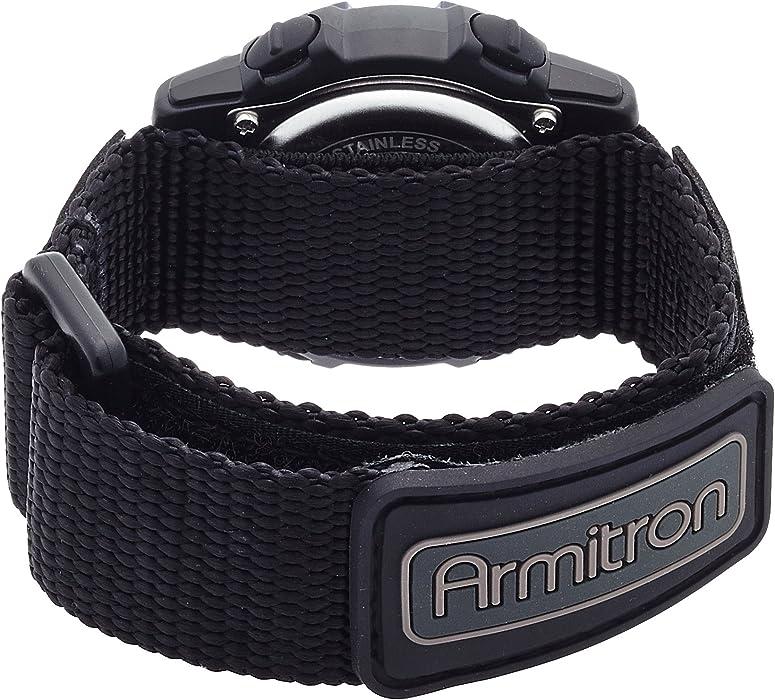 Armitron Sport Unisex 457004BLU Navy Blue Accented Digital Chronograph Black Nylon Strap Watch
