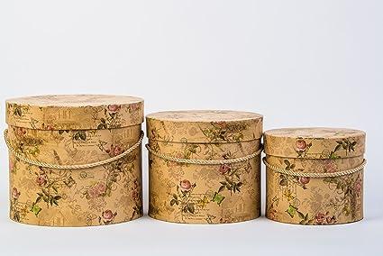 Set de 3 cajas decorativas conVintagediseñoFoldenencolormarrónclaromarrónchableredondo caja de regalo con diseñodemariposas flores caja,caja de almacenaje con tapa: Amazon.es: Hogar
