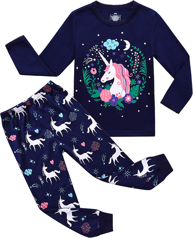 Little Hand Girls Pyjamas Unicorn Cat Kids Pjs Toddler Clothes Set 100/% Cotton Sleepwear Long Sleeve Nightwear Outfits 1-7 Years