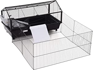 "PawHut Rolling Metal Rabbit, Guinea Pig, or Small Animal Hutch Cage with Main House and Run, 47"" L"