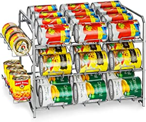 Bextsrack Can Rack Organizer, Stackable Pantry Organizer Can Storage Dispenser Holds up to 42 Cans for Kitchen Cabinet or Counter-Top, Silver