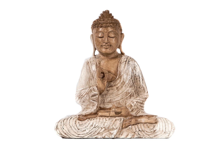 Windalf - Statuetta di Buddha in Meditazione, Altezza: 22 cm, in Legno, Realizzata a Mano