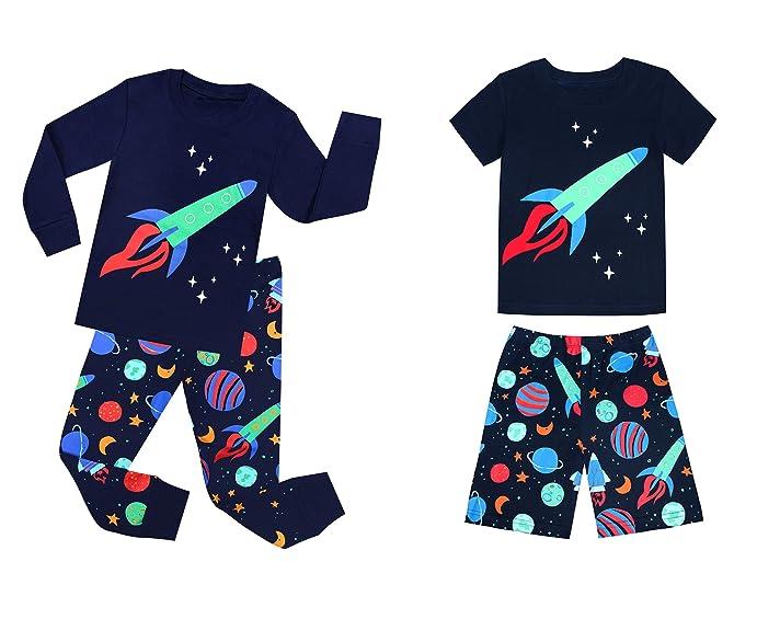 TinaLuLing Rockets Boys Pajamas Cotton Children Pajama Kids Homwear 2sets(1sets long +1 sets