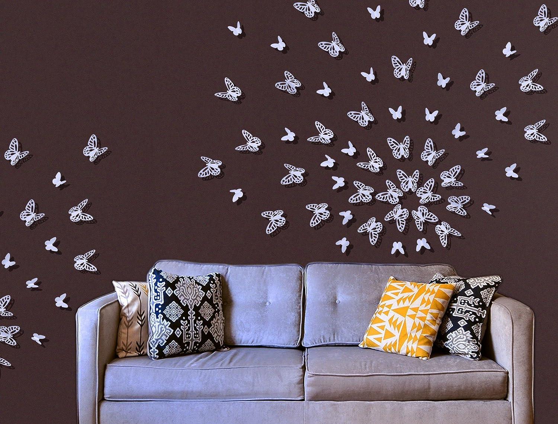 Luxbon 100 pcs 3D Papillon Stickers Autocollant de Mur DIY Art Chambre Ornement Papier Pink