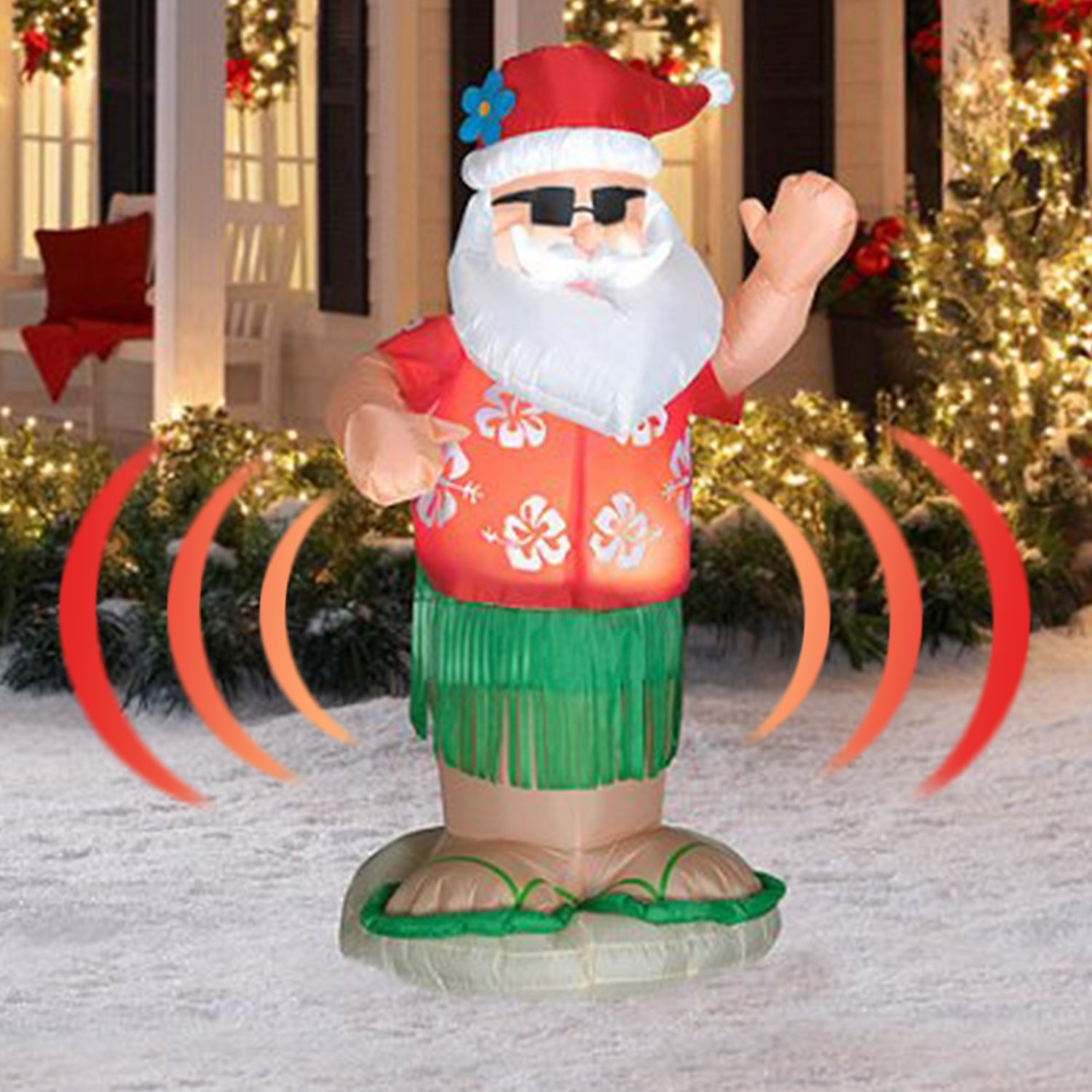 Animated Hula Dance Santa - Actually Shakes His Bottom - Christmas Inflatables 6ft by Home Accents Holiday