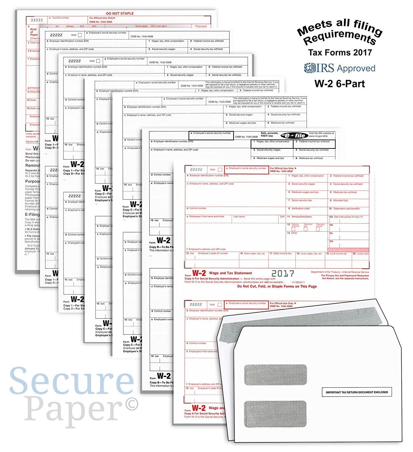 Complete Laser W-2 Tax Forms And W-3 Transmittal - Kit For 25 Employees ~6-Part~ All W-2 Forms with Self-Seal Envelopes in Value Pack | W-2 Forms 2017
