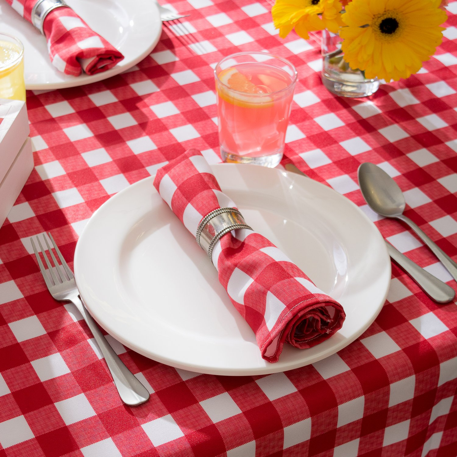 DII Spring & Summer Outdoor Tablecloth, Spill Proof and Waterproof with Zipper and Umbrella Hole, Host Backyard Parties, BBQs, & Family Gatherings - (60x120'' - Seats 10 to 12) Red Check by DII (Image #8)