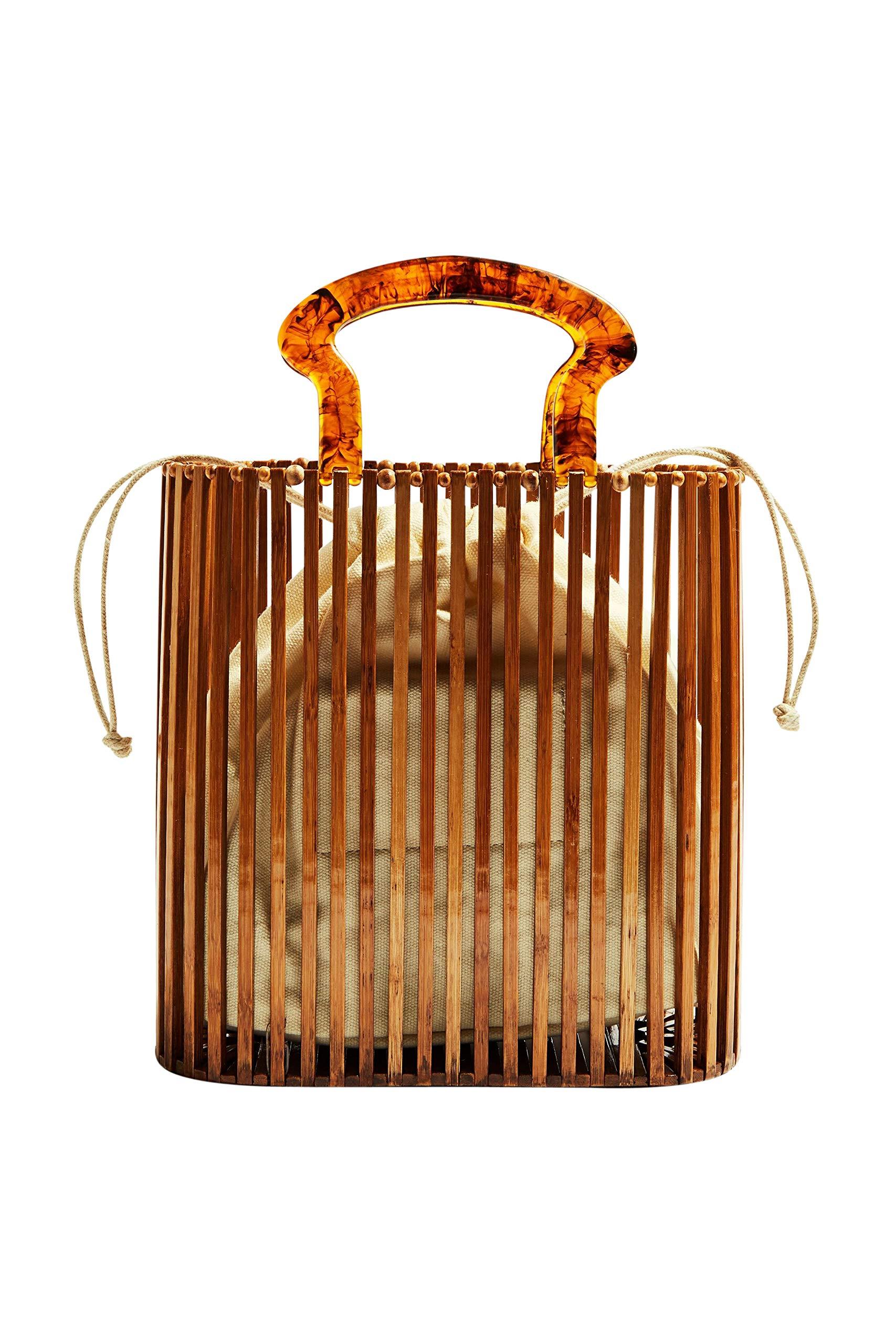 Handmade Bamboo Beach Bag Wooden Handmade Tote Womens Straw Tote Bag Womens Basket Bag Large for Women