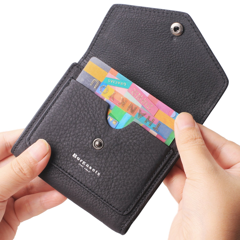 Borgasets Women's RFID Blocking Small Compact Bifold Leather Pocket Wallet Ladies Mini Purse (Nubuck Black)