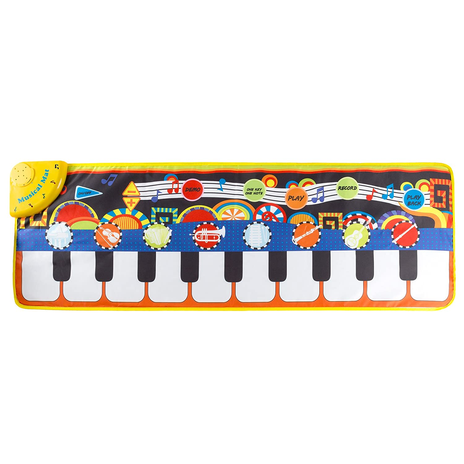 Playback Record Step Piano Mat for Kids Instrument Sounds Boys and Girls by Hey Demo Modes for Toddlers Keyboard Mat with Musical Keys Play!