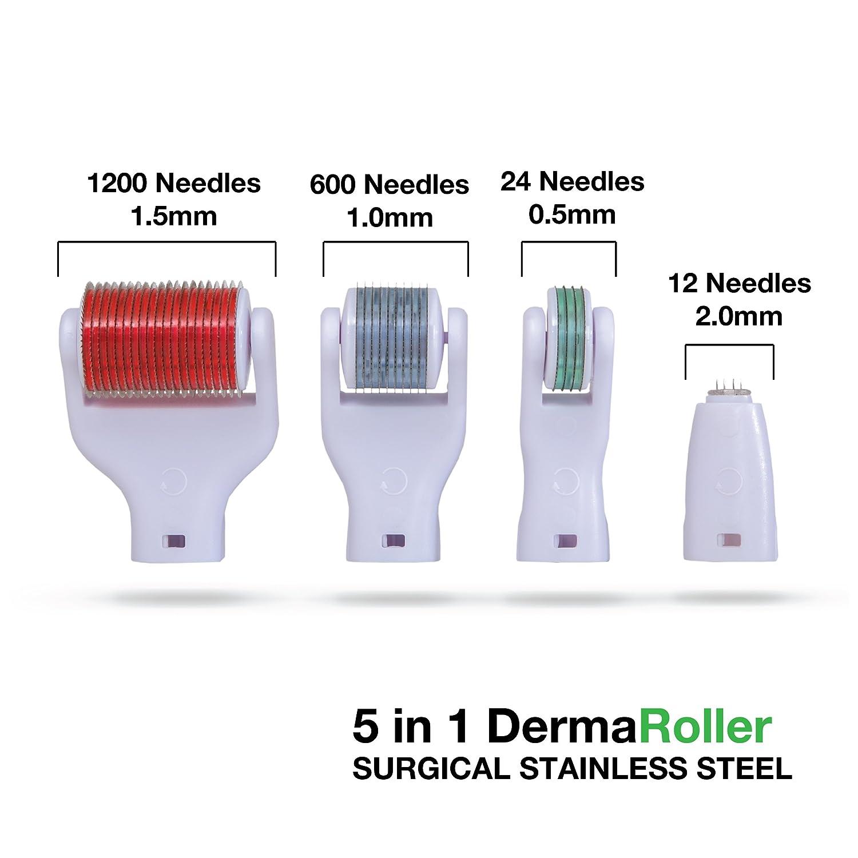Kit de cuidado de la piel 5-en-1 Derma Roller con microagujas (12c / 2mm_240c / 1.5mm_600c / 1mm_1200 / 2mm entre las agujas) para atenuar las arrugas, ...