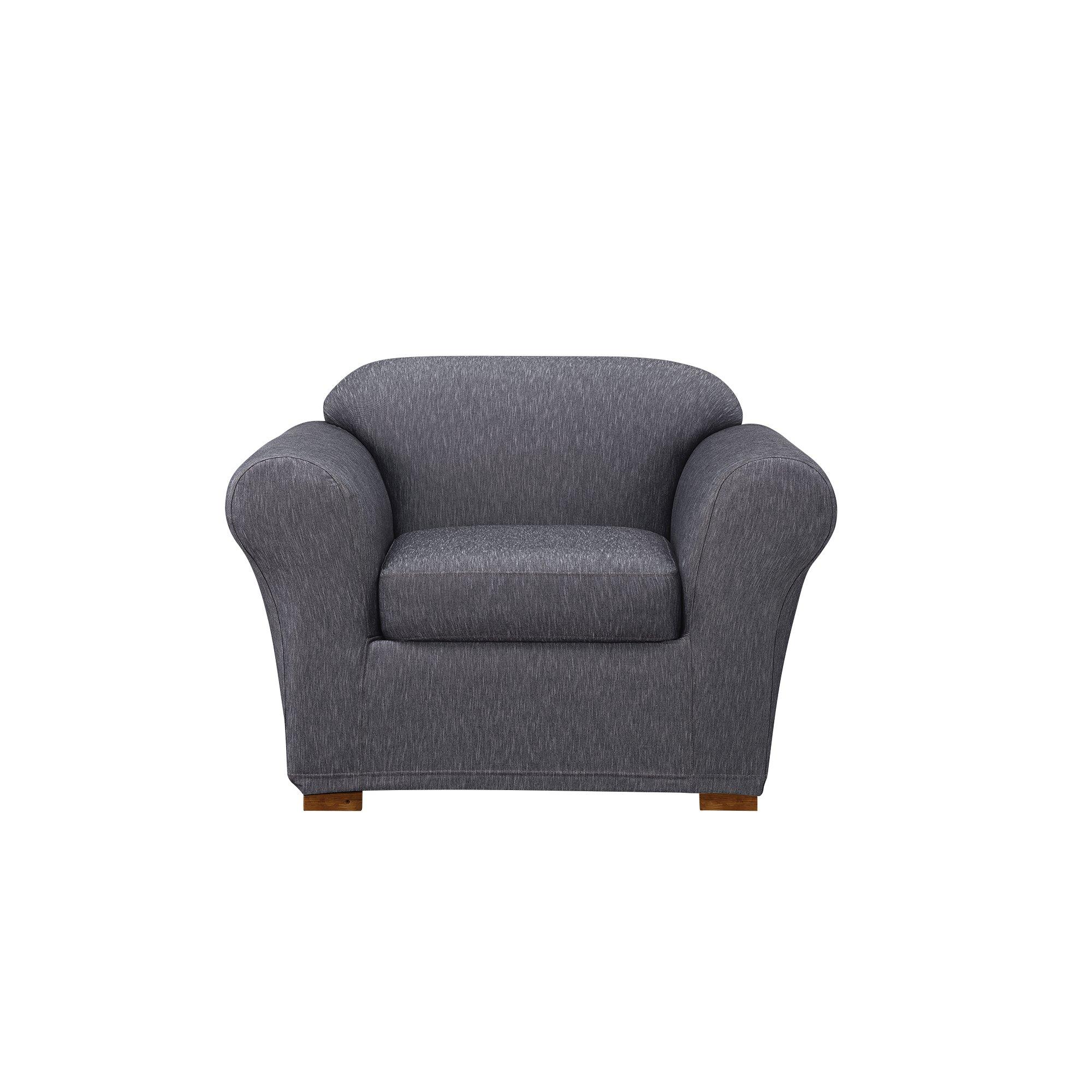 Sure Fit Stretch Denim One Piece Slipcover, Chair, Dark Indigo