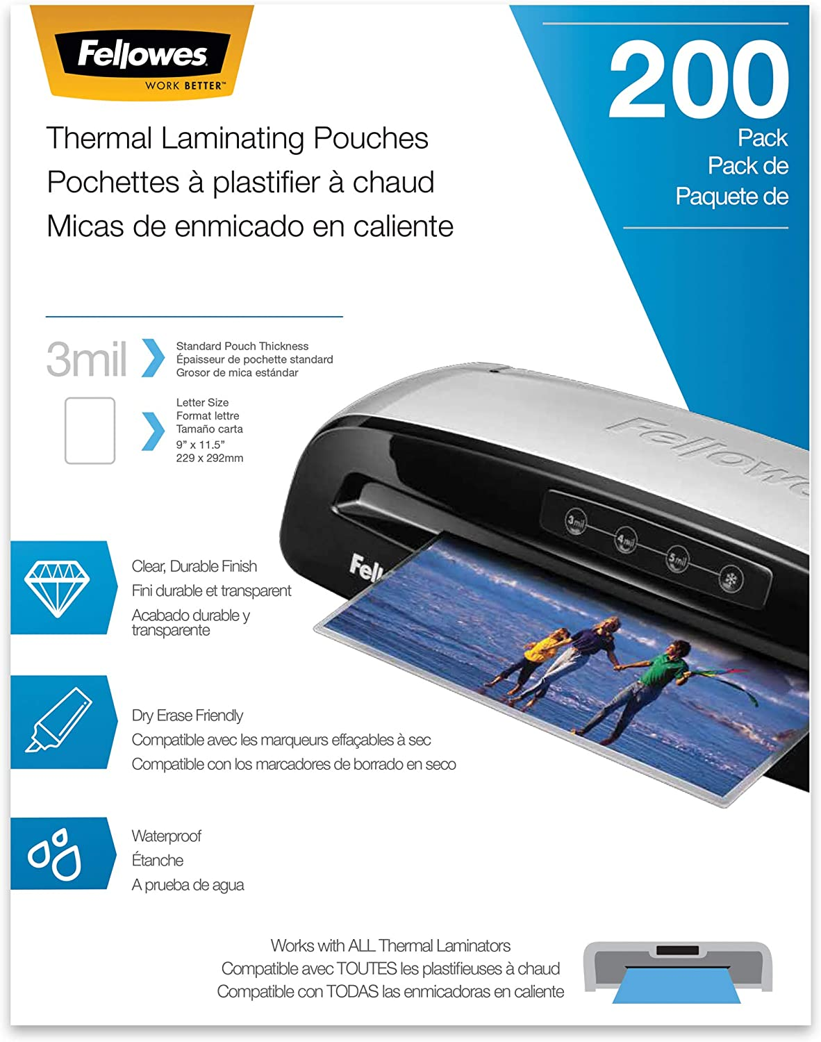 Letter Size 9 x 11.5-Inches 5 mil, Fellowes Thermal Laminating Pouches