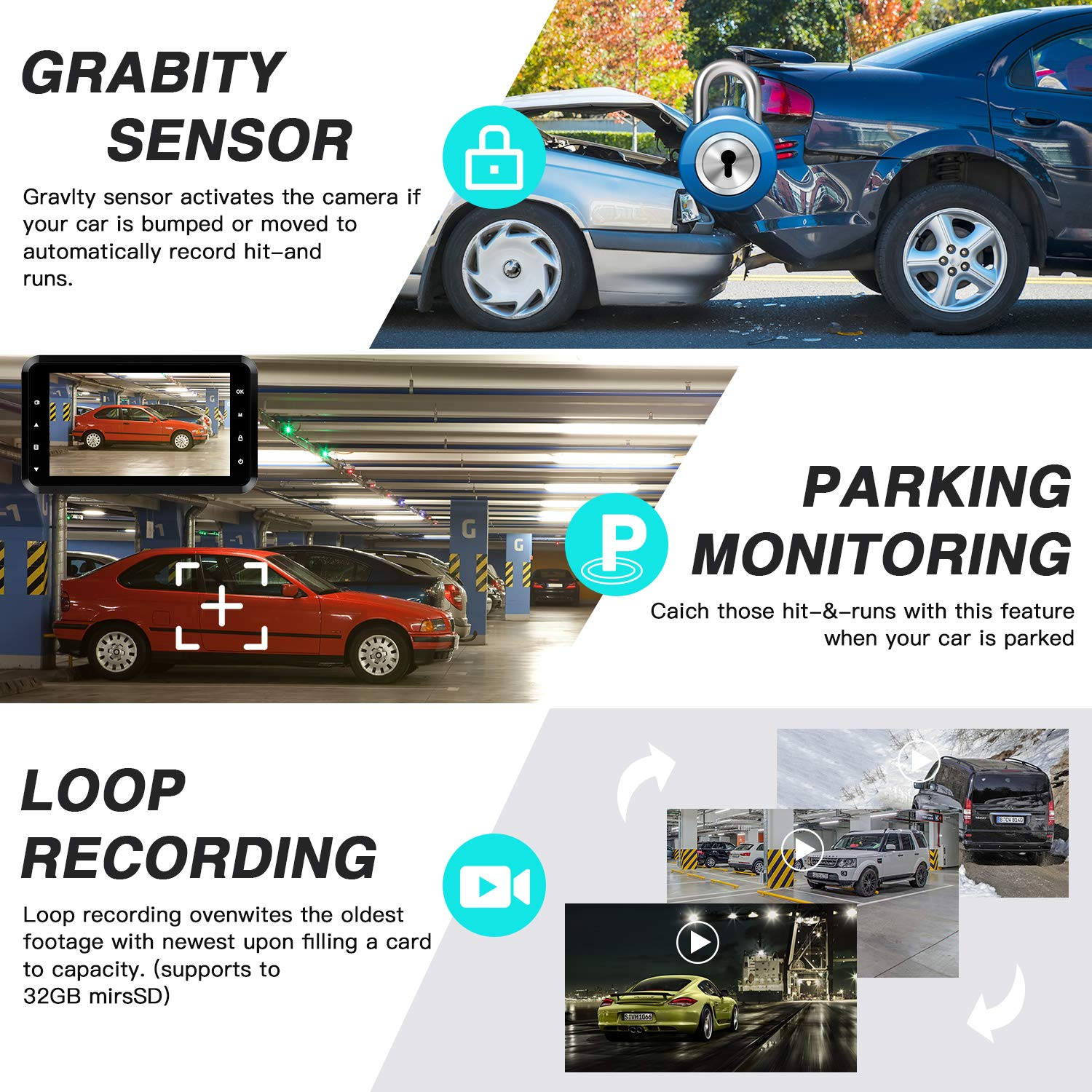 Dash Cam Amuoc 1080P FHD DVR Car Driving Recorder 3 Inch LCD Screen 170 Wide Angle GSensor WDR