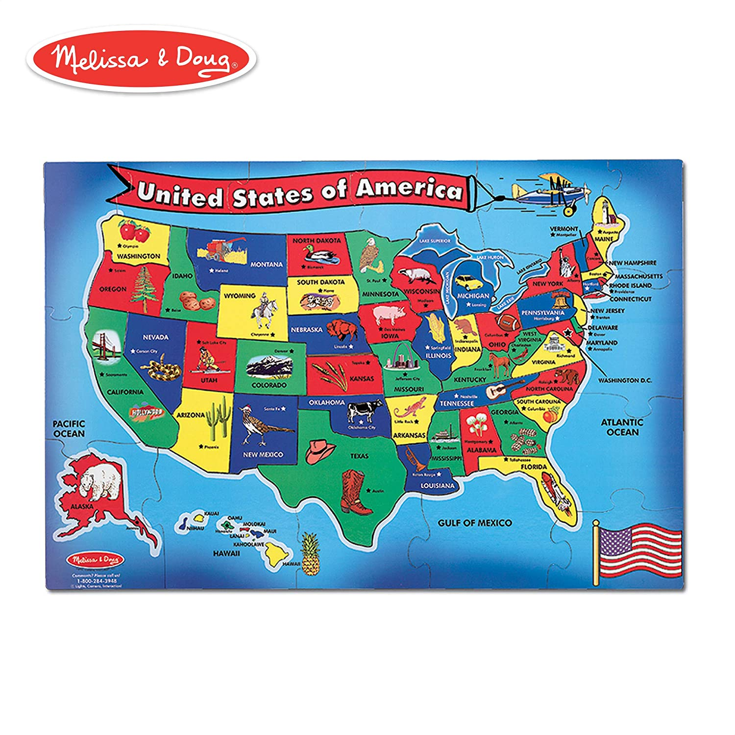 Real Map Of The United States.Melissa Doug Usa United States Map Floor Puzzle Wipe Clean Surface Teaches Geography Shapes 51 Pieces 24 L X 36 W