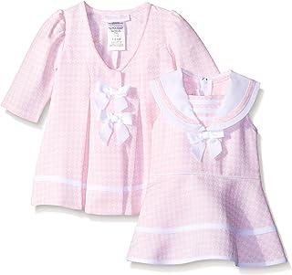Bonnie Baby Baby Girls' Check Jacquard Dress and Coat Set