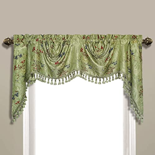United Curtain Jewel Woven Austrian Topper Window Valance, 108 x 30 , Green