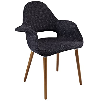 Modway Aegis Mid Century Modern Upholstered Fabric Organic Dining Armchair  With Wood Legs In Black