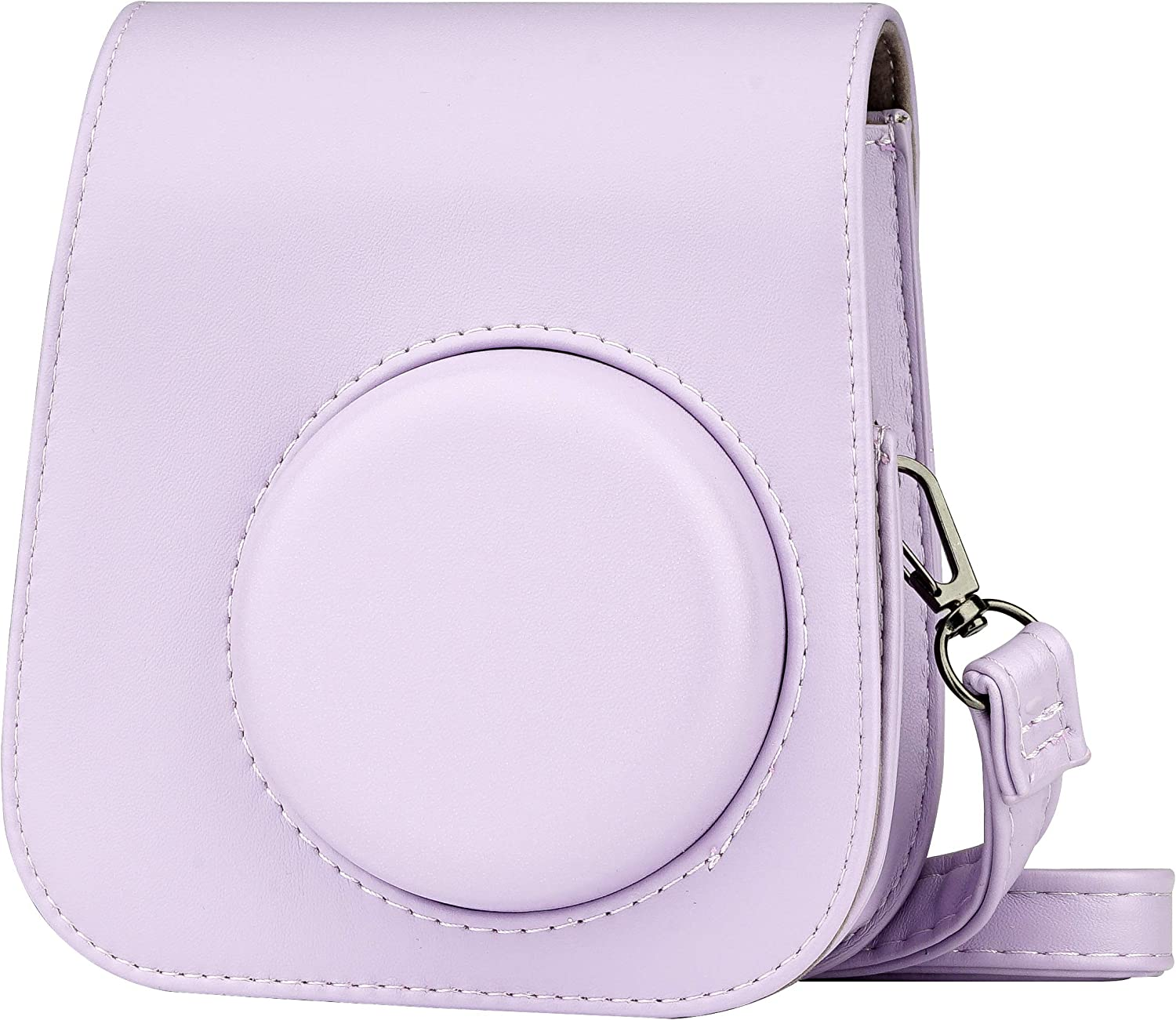 Blummy PU Leather Camera Case for Fujifilm Instax Mini 11 Instant Camera with Adjustable Strap and Pocket(Purple)