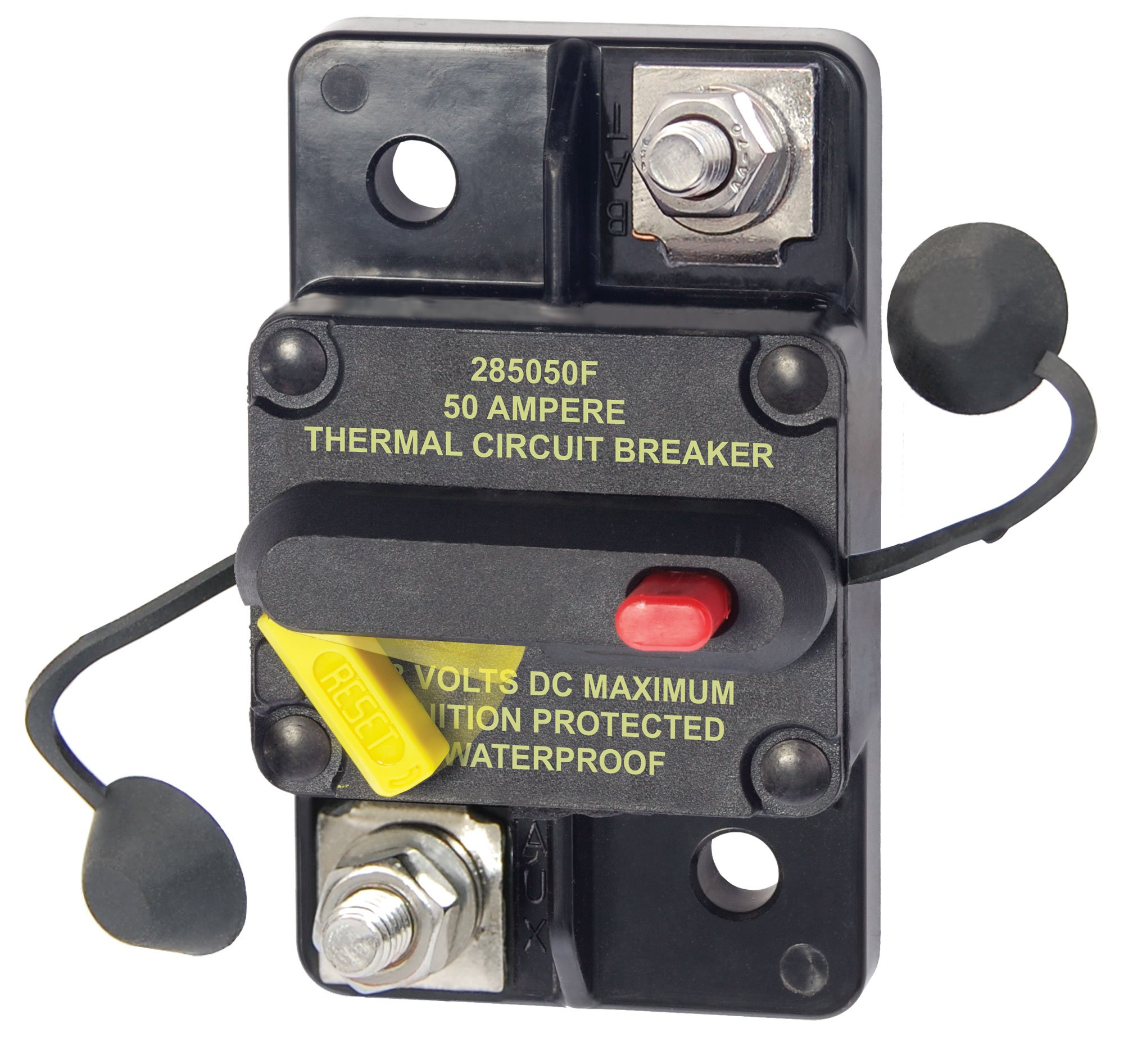 Best Rated In Thermal Circuit Breakers Helpful Customer Reviews Breaker Wire Size Chart As Well 1968 Mustang Wiring Diagram Blue Sea Systems 285 Series Surface Mount 50a