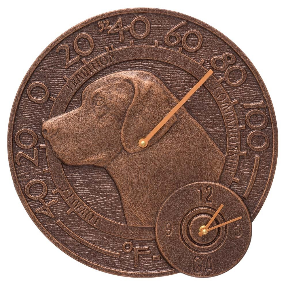 Whitehall Labrador Outdoor Clock & Thermometer 14'' Diameter