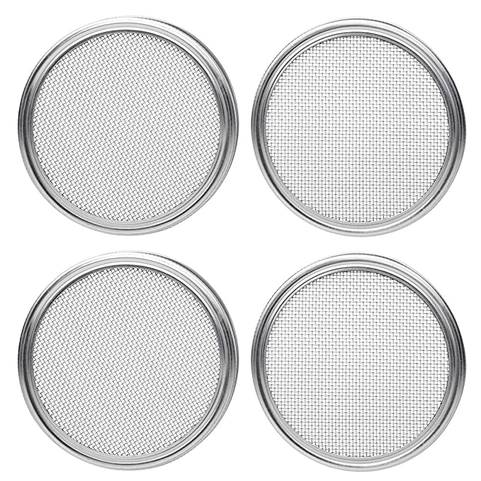 Strainer Lid for Canning Jars and Seed Sprouting Screen SODIAL Stainless Steel Sprouting Lids for Wide Mouth Mason Jars 4pcs