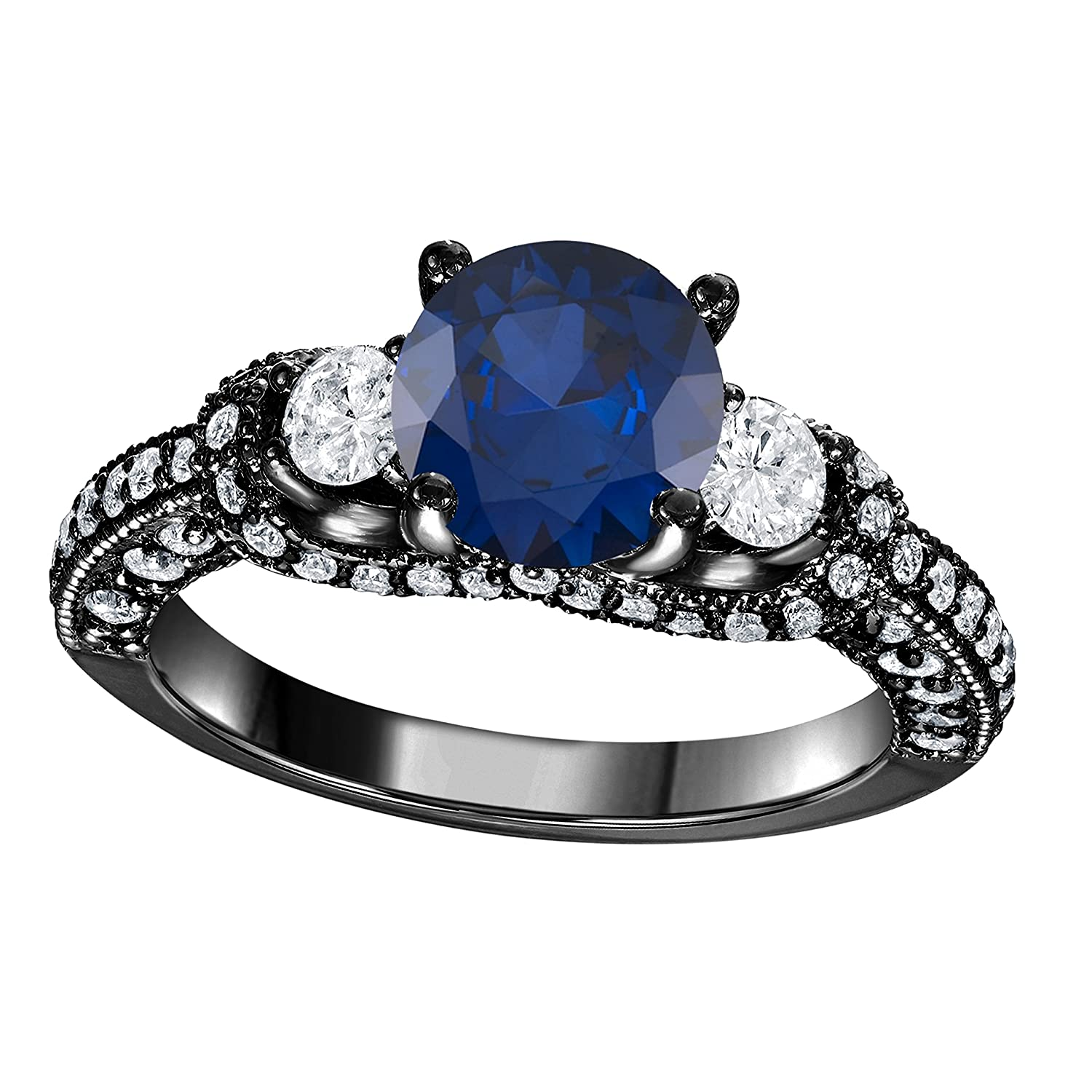 Oval Shape Blue Sapphire /& Cz .925 Sterling Silver Ring Sizes 4-11