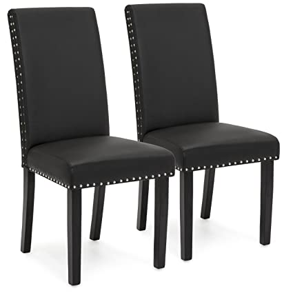Pleasing Best Choice Products Set Of 2 Studded Faux Leather Parsons Dining Chairs Black Evergreenethics Interior Chair Design Evergreenethicsorg