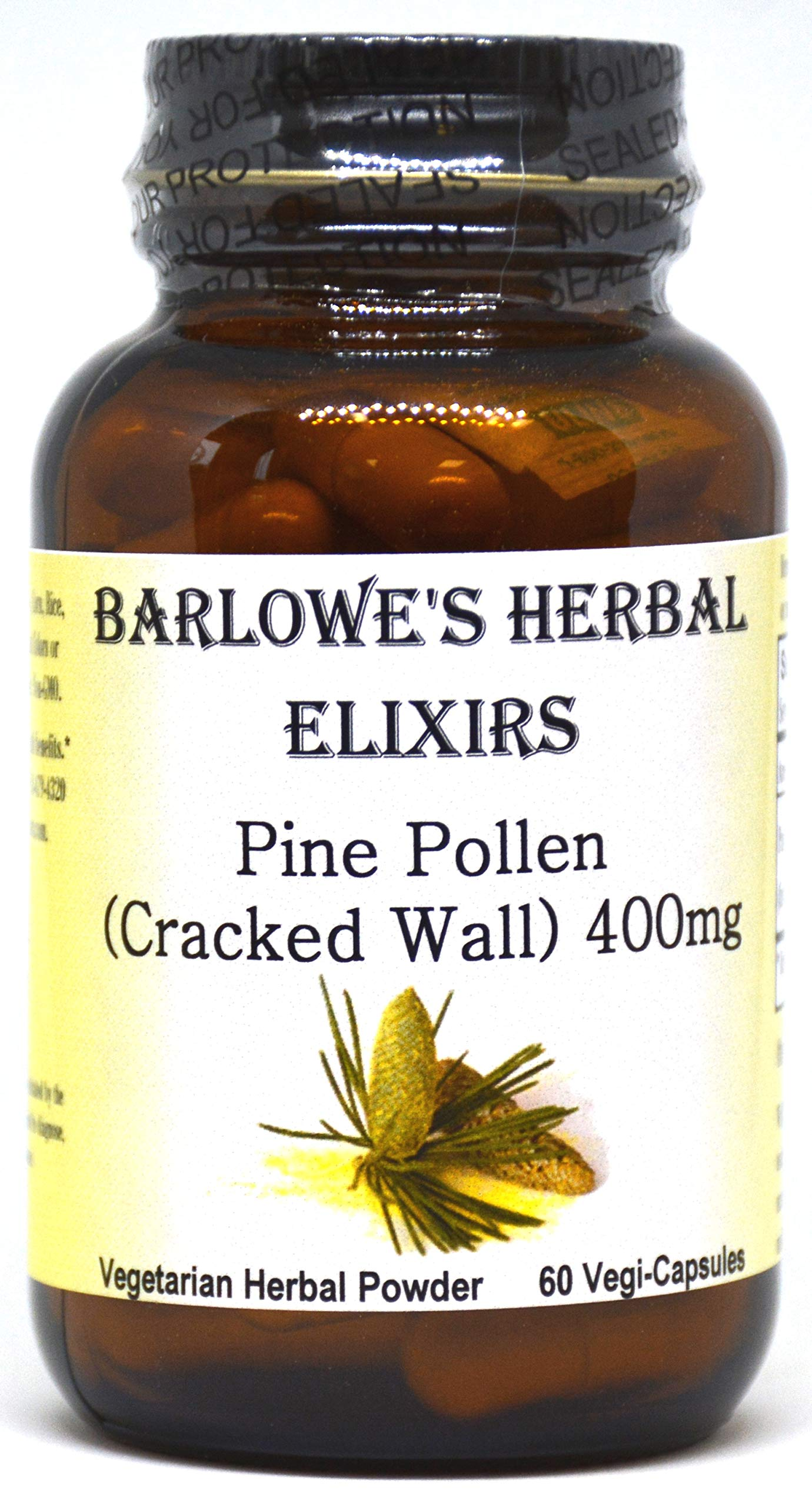 Pine Pollen Cracked Wall Powder - 60 400mg VegiCaps - Stearate Free, Bottled in Glass!