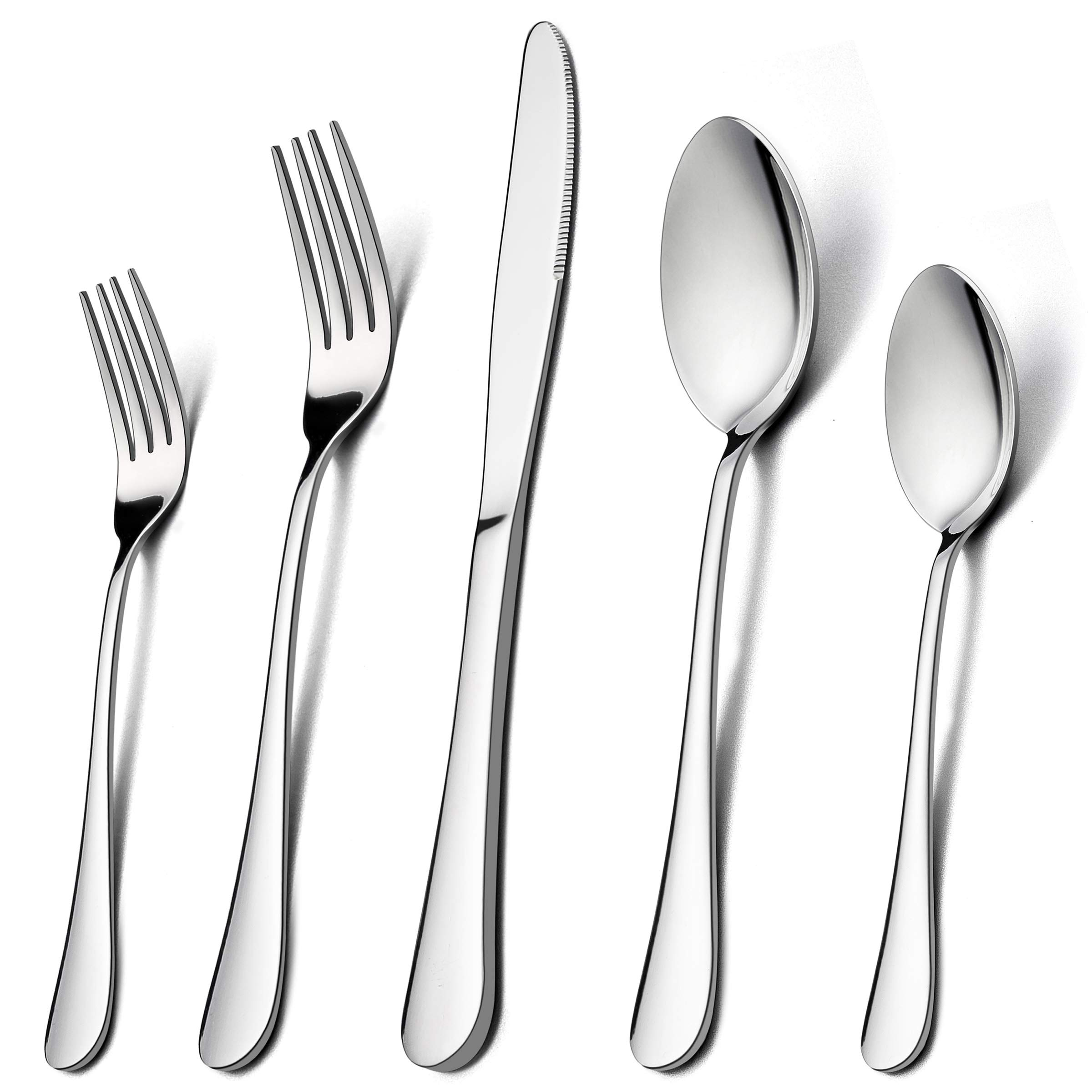 60-Piece Silverware Flatware Set for 12, LIANYU Stainless Steel Cutlery Eating Utensils Set, Kitchen Restaurant Party Tableware, Mirror Finished, Dishwasher Safe by LIANYU