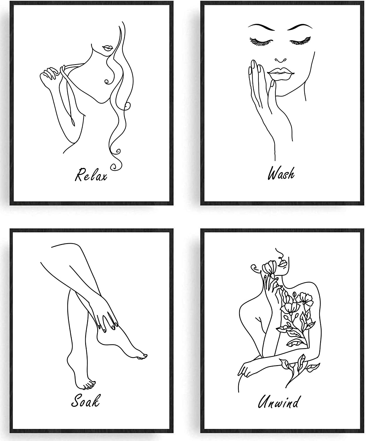 "Minimalistic Wall Art - Wash Soak Relax Unwind - Black & White Abstract Prints – Unframed – Minimalist Room Decor Posters | Minimal One Line Drawing of Woman Female Body Painting for Relaxation, Meditation, Bathroom | Set of 4 (8"" x 10"")"