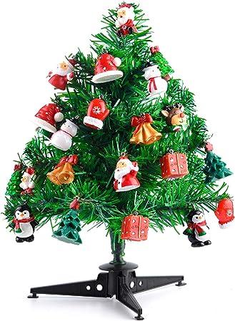 KUUQA 30cm Mini árboles de Navidad de Mesa Mini pinos con 22 Piezas Mini Adornos navideños para Decoraciones de Casas navideñas Accesorios de Aldea navideña: Amazon.es: Hogar