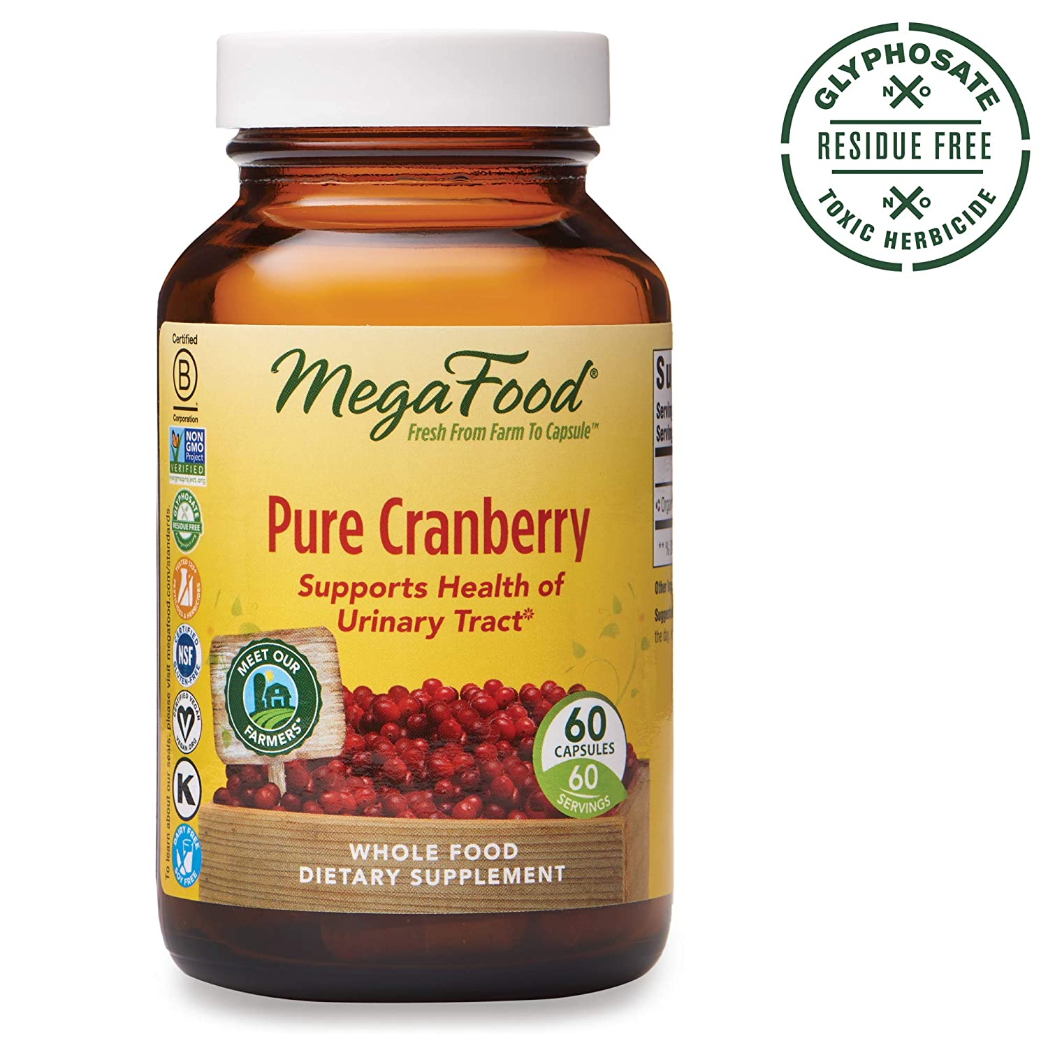 MegaFood, Pure Cranberry, Supports Urinary Tract and Immune Health, Whole Food Supplement, Gluten Free, Vegan, 60 Capsules 60 Servings FFP