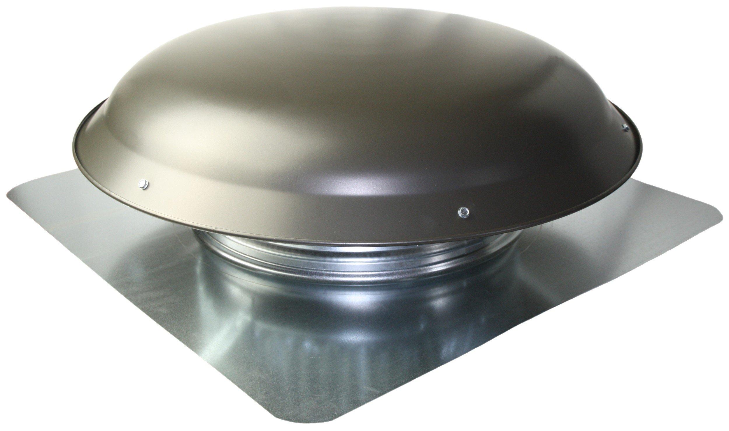 Ventamatic VX25 GREYUPS Static Galvanized Steel Dome & Flange Roof Vent, Weathered Grey,
