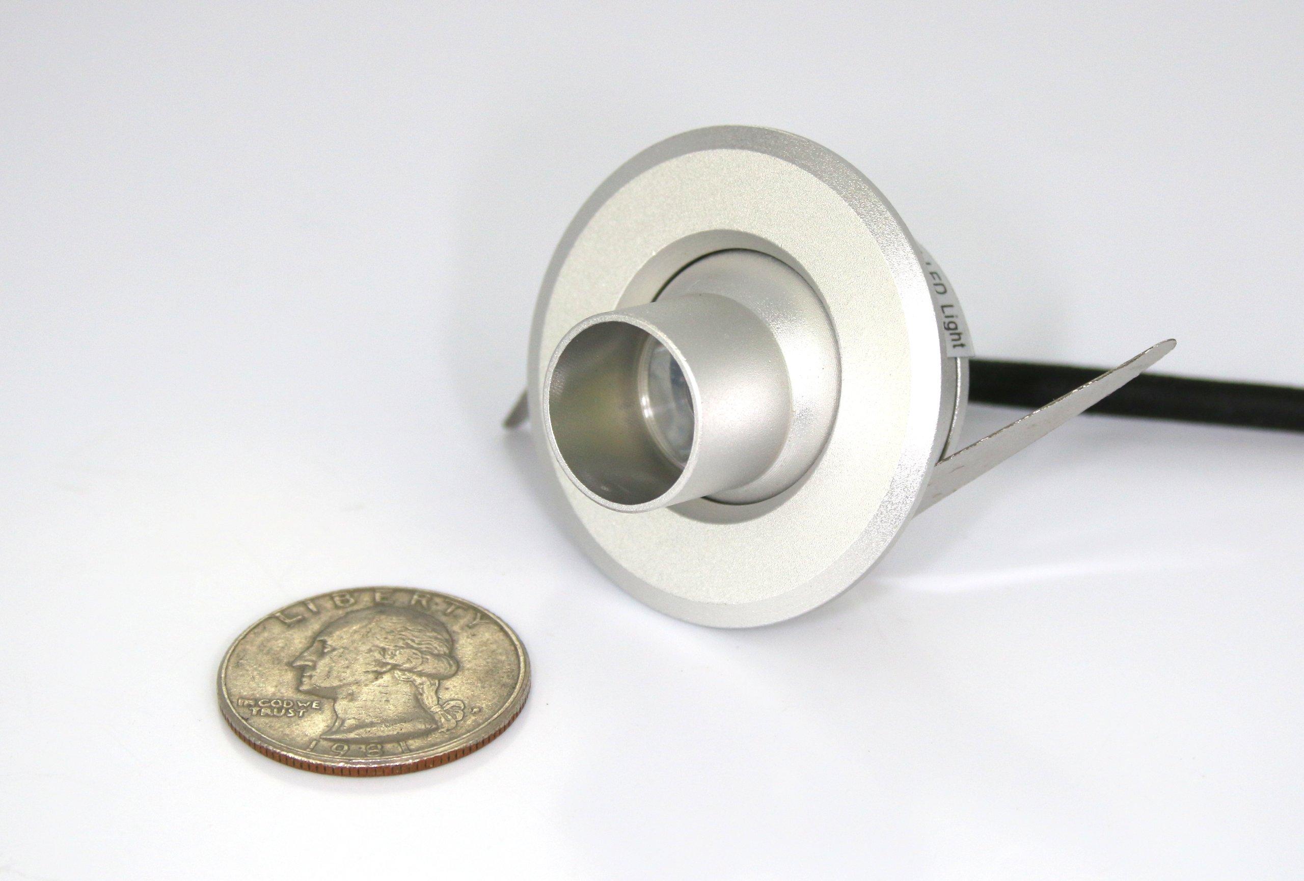 Mini EyeBall LED Fixture - Warm White LED Downlight for Cabinets, Displays, Spotlights - 90 to 220VAC