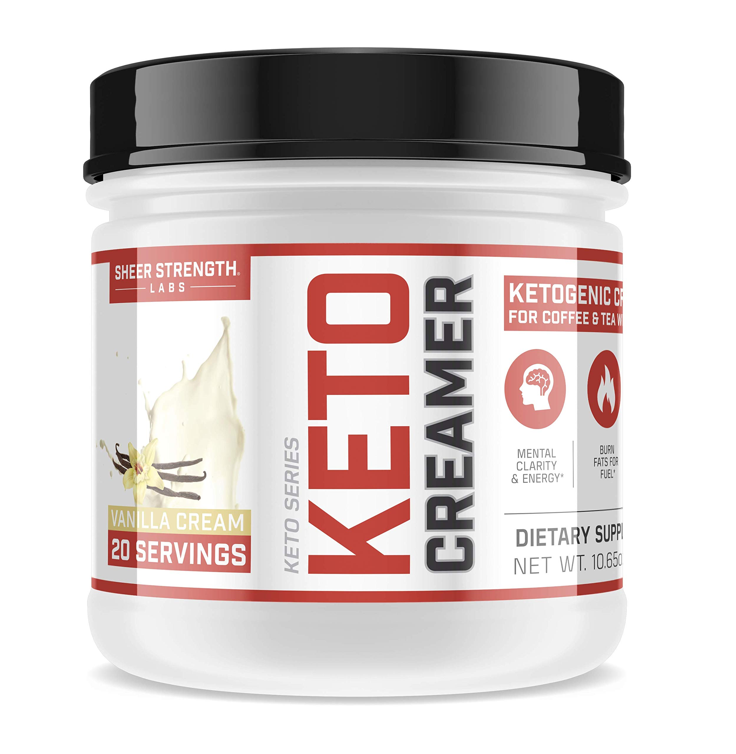 Keto Creamer for Men and Women on a Low-Carb Diet - MCT Oil Powder and More | Ketogenic-Friendly Fat and Fiber Source Supports Weight Loss and Gut Health | Vanilla Cream 302g, Sheer Strength Labs by Sheer Strength