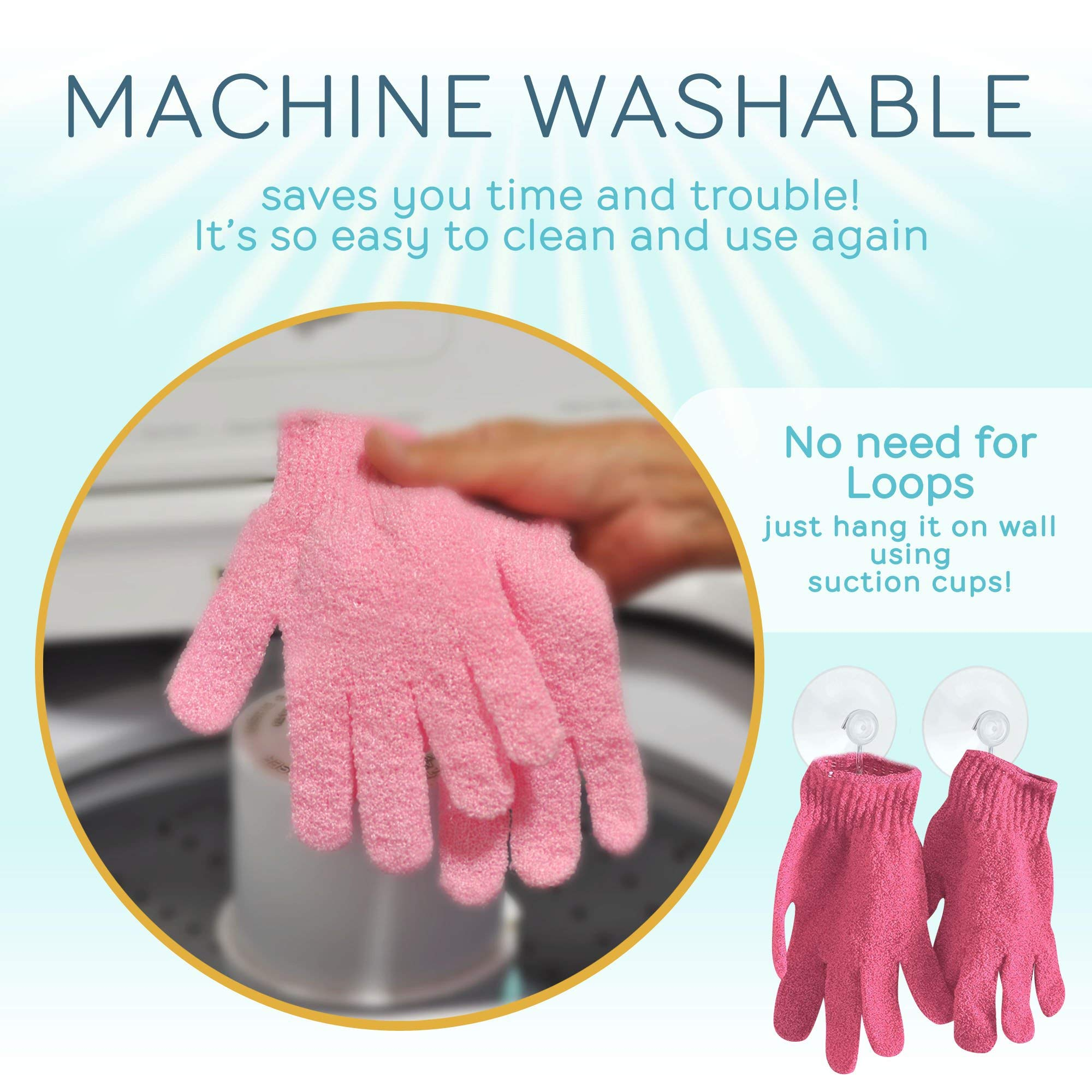 SmitCo LLC Exfoliating Gloves - 4 Pairs Full Body Scrub - Shower or Bath Spa Exfoliation Accessories For Men and Women - Scrubs Away Dead Cells For Soft Skin and Improves Blood Circulation by SMITCO (Image #8)