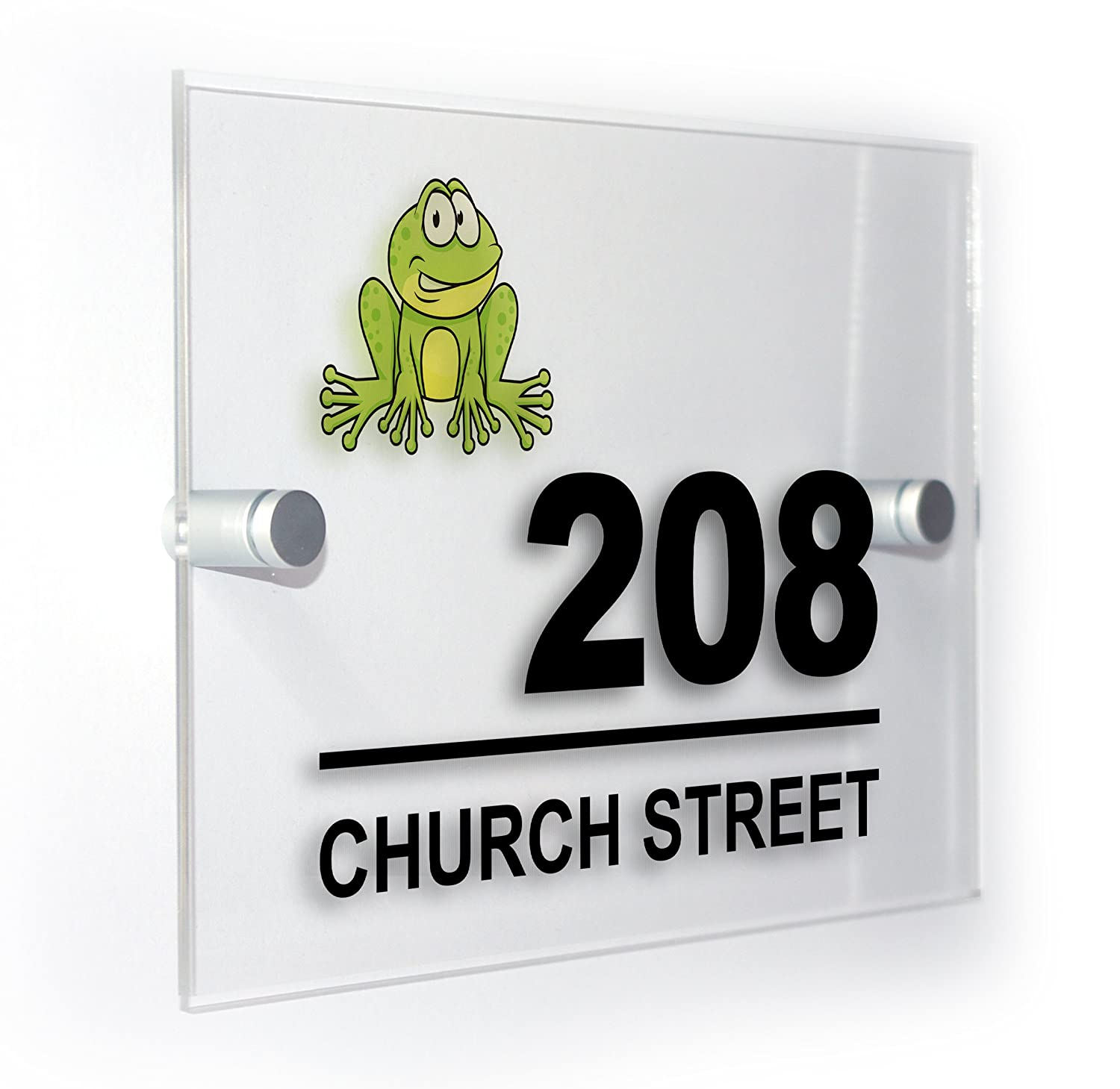 Frog Modern Style Personalised House Flat Number Plaque Full Colour Sign Outdoor Use Weatherproof Market Leading Print Premium Home Plaques