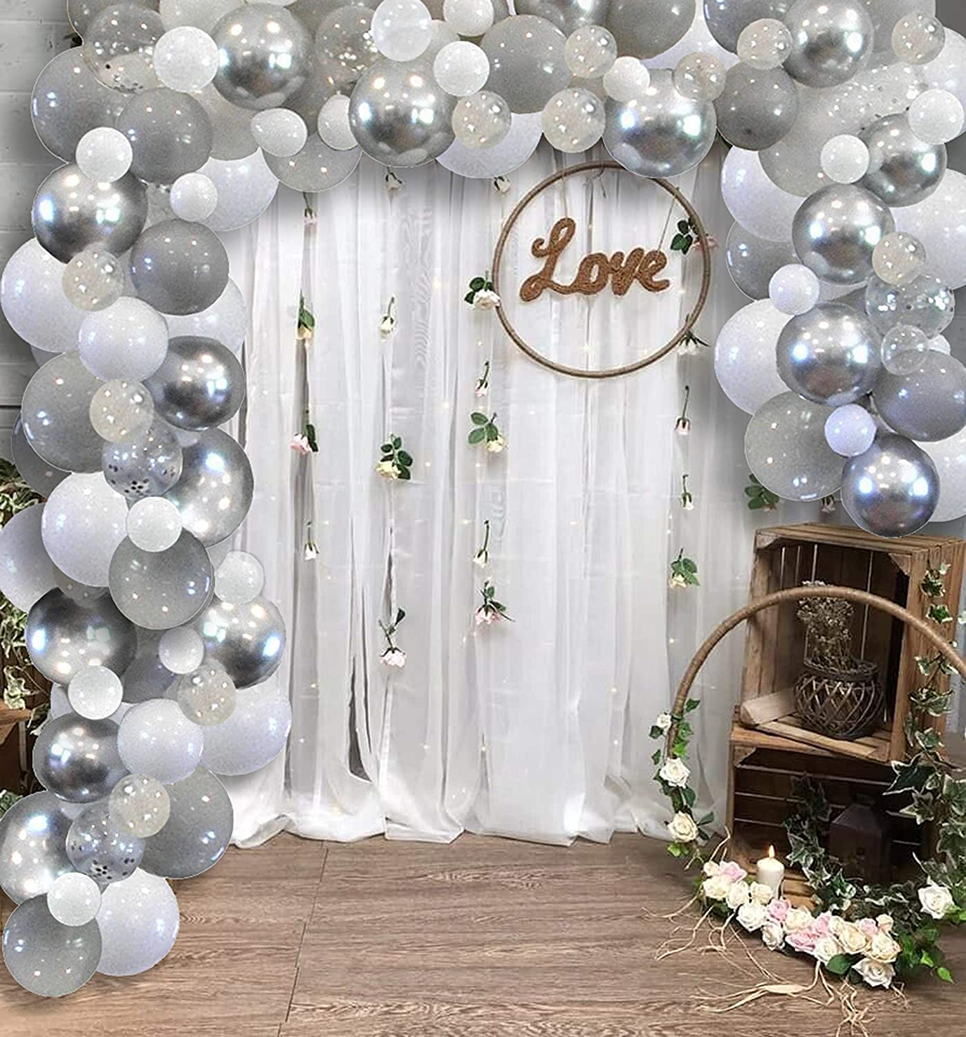 Famzigo Balloon Arch kit Balloon Garland - Strong Thick Balloons, Metallic Silver, Light Grey, White&Clear/Chrome Confetti, Birthday Party Decor, Decorations 4 Parties, DIY Wedding Decoration Kits
