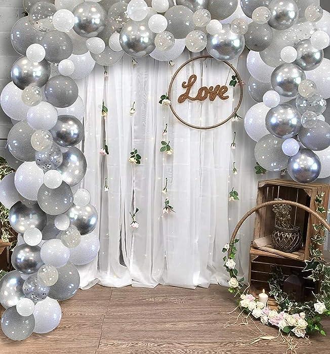 Famzigo Balloon Arch kit Balloon Garland - Strong Thick Balloons, Metallic Silver, Light Grey, White&Clear/Chrome Confetti, Birthday Party Decor, Decorations 4 Parties, DIY Wedding Decoration Kits