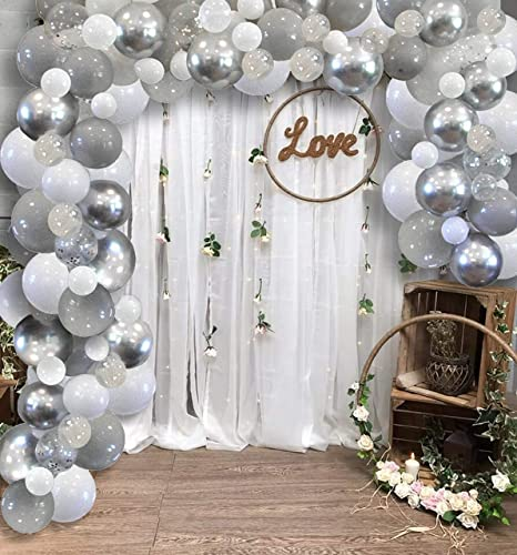Gold White Confetti Foil Balloons DIY Garland Arch Decorations Party Kit Set